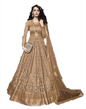 Stylish Heavy Embroidery Wedding Bridal Wear Mustard Peach Color Anarkali Suits With Lehenga Pant Style