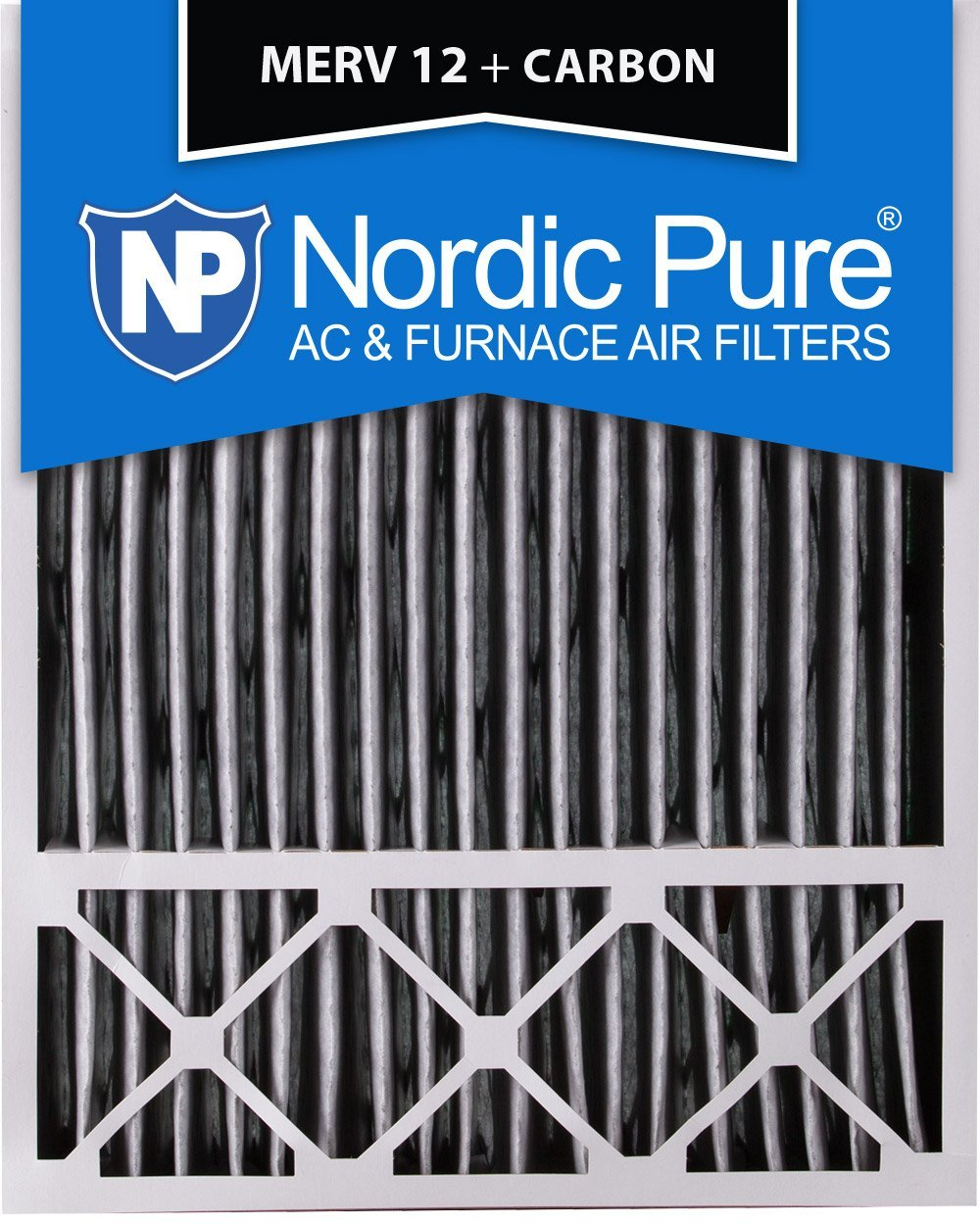 Nordic Pure 20x25x5 (4-3/8 Actual Depth) Lennox X6673 Replacement MERV 12 Pleated Plus Carbon AC Furnace Air Filter, Box of 2