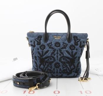 Preowned Used Designer Brand Handbag Prada Denim 2way Tote Bag 1ba073 Handbags For Whole