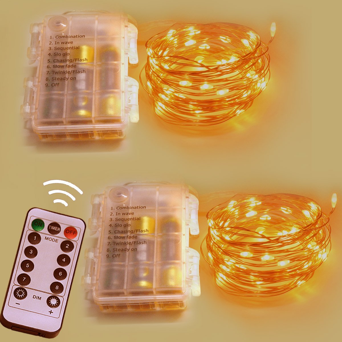 Homeleo 2 Set Battery Operated LED Copper String Lights, 16.4ft 50 LED 8 Modes Dimmable Fairy Lights with Remote Control(Yellow)