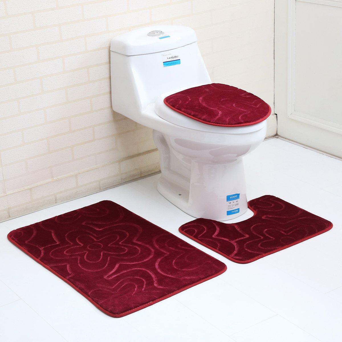 "3PC Bath Mat Rug Set Bathroom Non-Slip Floor Mat Flannel Pedestal Rug(15.7""x19.7"") + Lid Toilet Cover(15.7""x17.7"") + Bath Mat Makaor (19.7""x31.4"") (wine red)"