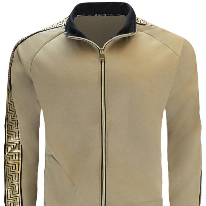 NEW Men Fleece Sweatsuit Tribal Gold Foil Track Suit Jacket Hooded Long Sleeve