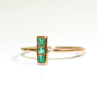Emerald Gold Ring Solid Gold Ring Stacking Ring