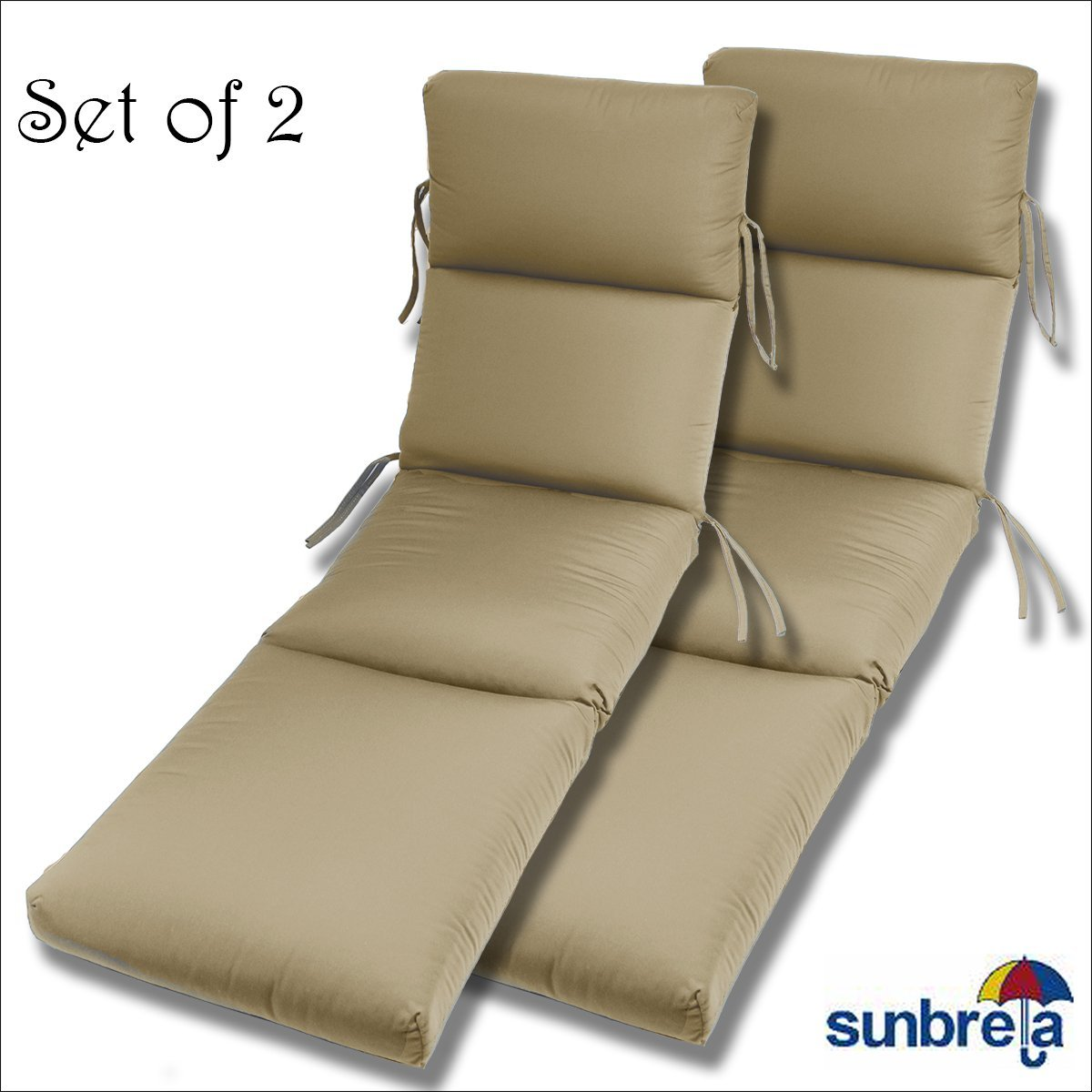 SET OF 2- 22x74x5 Sunbrella Indoor/Outdoor Fabrics in Antique Beige CHANNELED CHAISE CUSHION by Comfort Classics Inc.