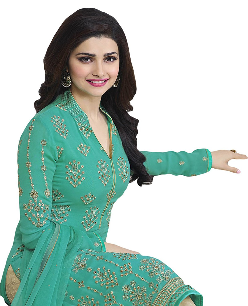 Casual Party Wear Salwar Kameez With Patiala Pant / Palazzo Pant Style / Straight Cut Style Semi-Stitched (salwar kameez suits)