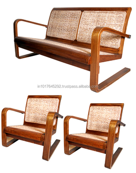 European Style Sofa Antique Art Deco Teak Wooden Living Room Rattan Mid