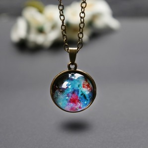 Wholesale Women Accessories Glass Necklace Starry Sky Design Charm Necklace Pendant For Girlfriend Gift