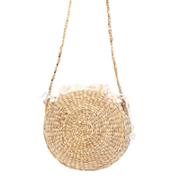 Round Water Hyacinth Shoulder Bag. Round Straw Bag