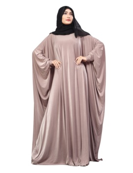 Light Violet Color Plain Free Size Arabic Lycra Abaya With Chiffon Hijab Scarf For Women