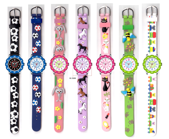 Kids wristwatches with lovely cartoon pattern dial and strap for children