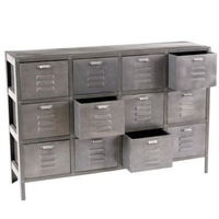 Industrial & vintage grey black vintage finish Iron metal 12 drawer Cabinet