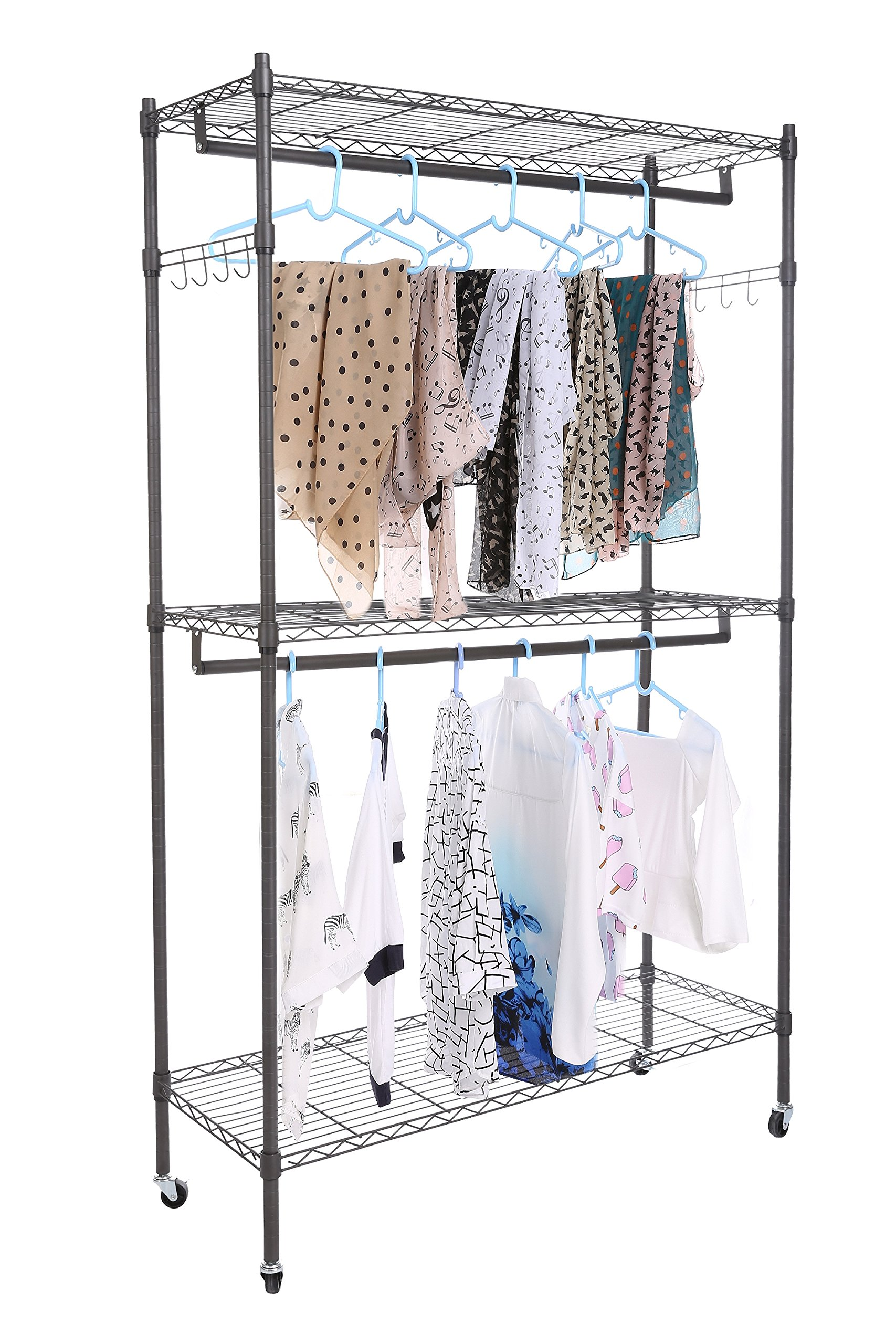 Hanging display rack for clothes cheesea clothes display rack store with 3 shelves wire