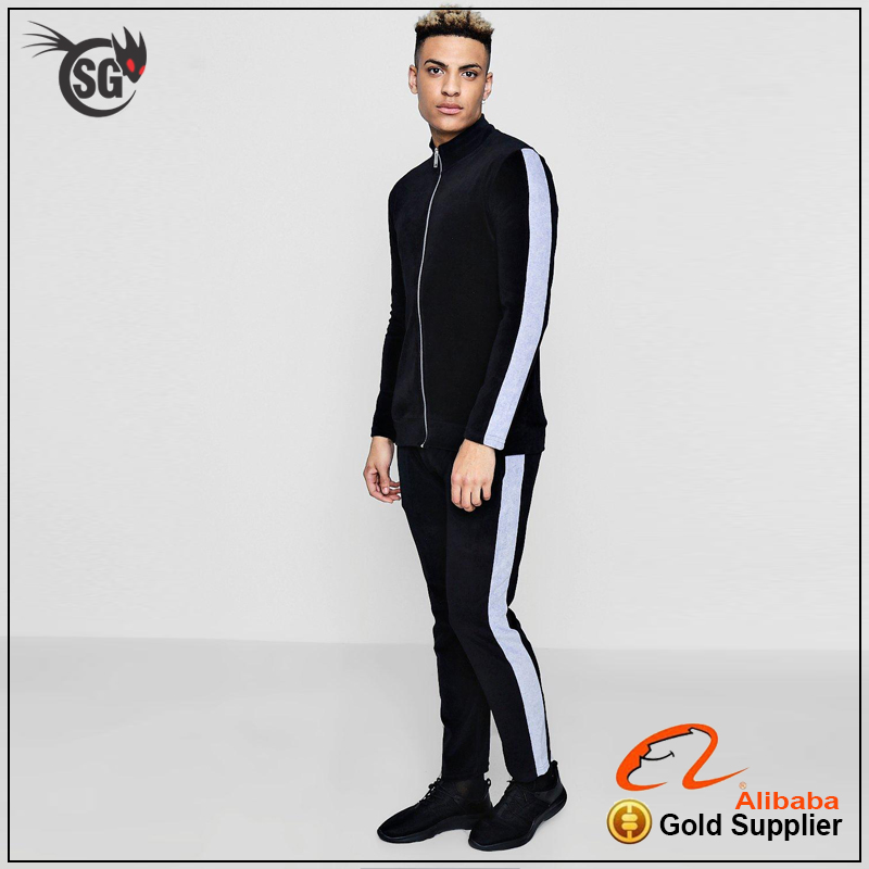 custom velour tracksuits with side logo tape panels tracksuits slim fit cheap tracksuits sports wear