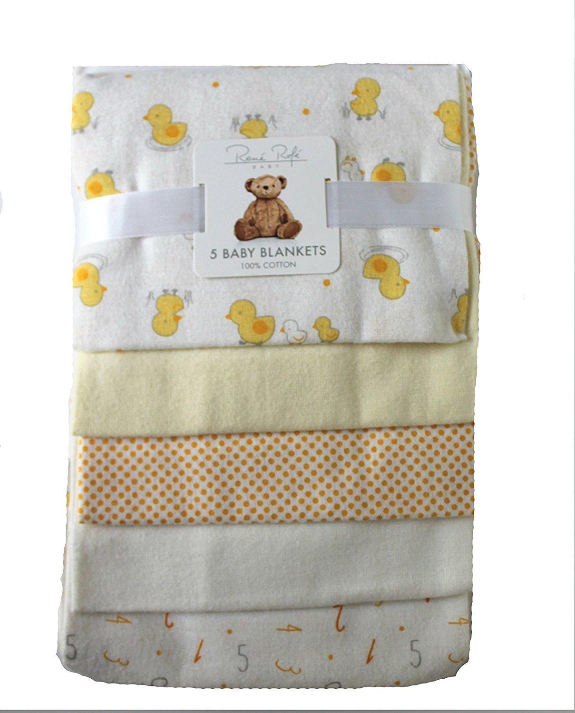 Rene Rofe NewBorn Baby Receiving Blanket 5 pack (Yellow Ducks)
