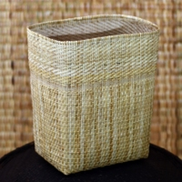 100% Handmade Handicraft Hand Weaving Eco Friendly Natural Rattan Wicker Bamboo Dustbin Cover Basket from Borneo