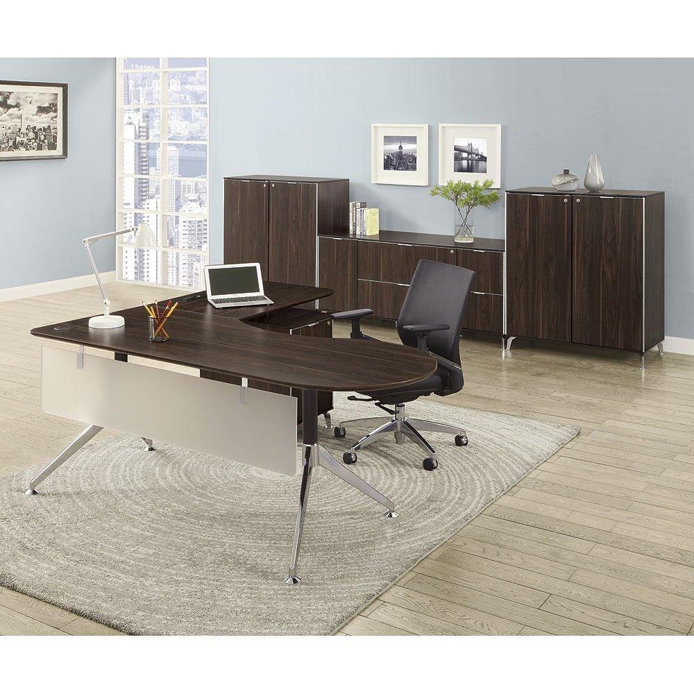 Executive L-Desk Suite Dark Walnut Laminate Top/Acrylic Modesty Panel/Black and Chrome Aluminum LegWeight: 638 lbs. - Filing Credenza - L-Desk - Wardrobe Storage cabinet