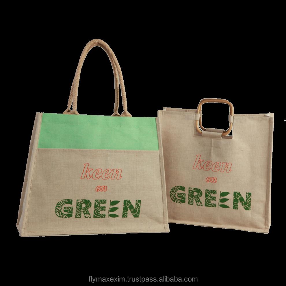 Jute Beach Bag Wedding Gift Tote Bag Wooden Handle Jute Tote Bag