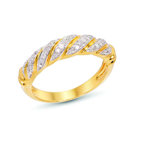 High Quality 0.1 Carat Genuine Diamond 14K Yellow Gold Plated 925 Sterling Silver Jewelry Engagement Wedding Ring for Women Gift