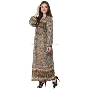 fc2df0e5f2d0 2018 latest maxi dress design cotton brown flower printed new long maxi  dress for women