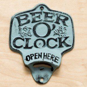 """ABC Products"" - Primitive Heavy Cast Iron - Wall Mount Bottle Opener - With The Words ""Beer O' Clock"" - (Hand Painted Turquoise & Black - Opens Standard Bottle Caps)"