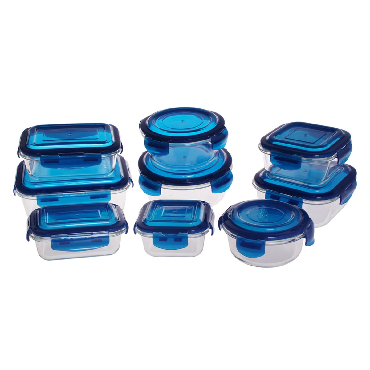 Glass Food Storage Container-18 Pieces Set(9 Containers+9 Lids) Glass Lunch Containers Airtight Food Storage Meal Prep Containers with Lids BPA-Free,for Home Kitchen or Restaurant