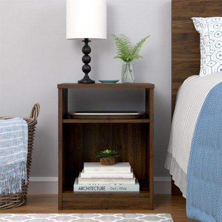 Mainstays Nightstand Features Open Top Shelf And Bottom Cubby Canyon Walnut