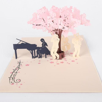 Cherry Blossom Music Band 3D Pop Up Card Handmade Laser Cut Greeting Card Birthday Card
