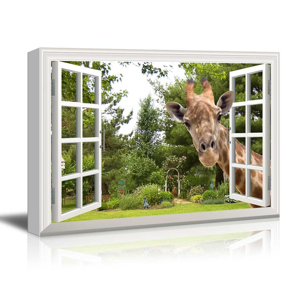 "Canvas Print Wall Art - Window Frame Style Wall Decor - A Curious Giraffe Sticking Its Head into an Open Window | Giclee Print Gallery Wrap Modern Home Decor. Stretched & Ready to Hang - 24"" x 36"""