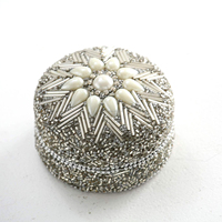 Luxurious White Pearl Lac Indian Trinket Box Jewellery Pill Case Trinket Boxes