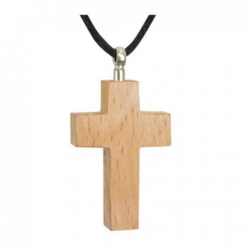 Wooden Cross Cherry Cremation Necklace Urns Jewellery