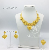 Gold Plated Jewelry Short Necklace Sets With Earring, Ring