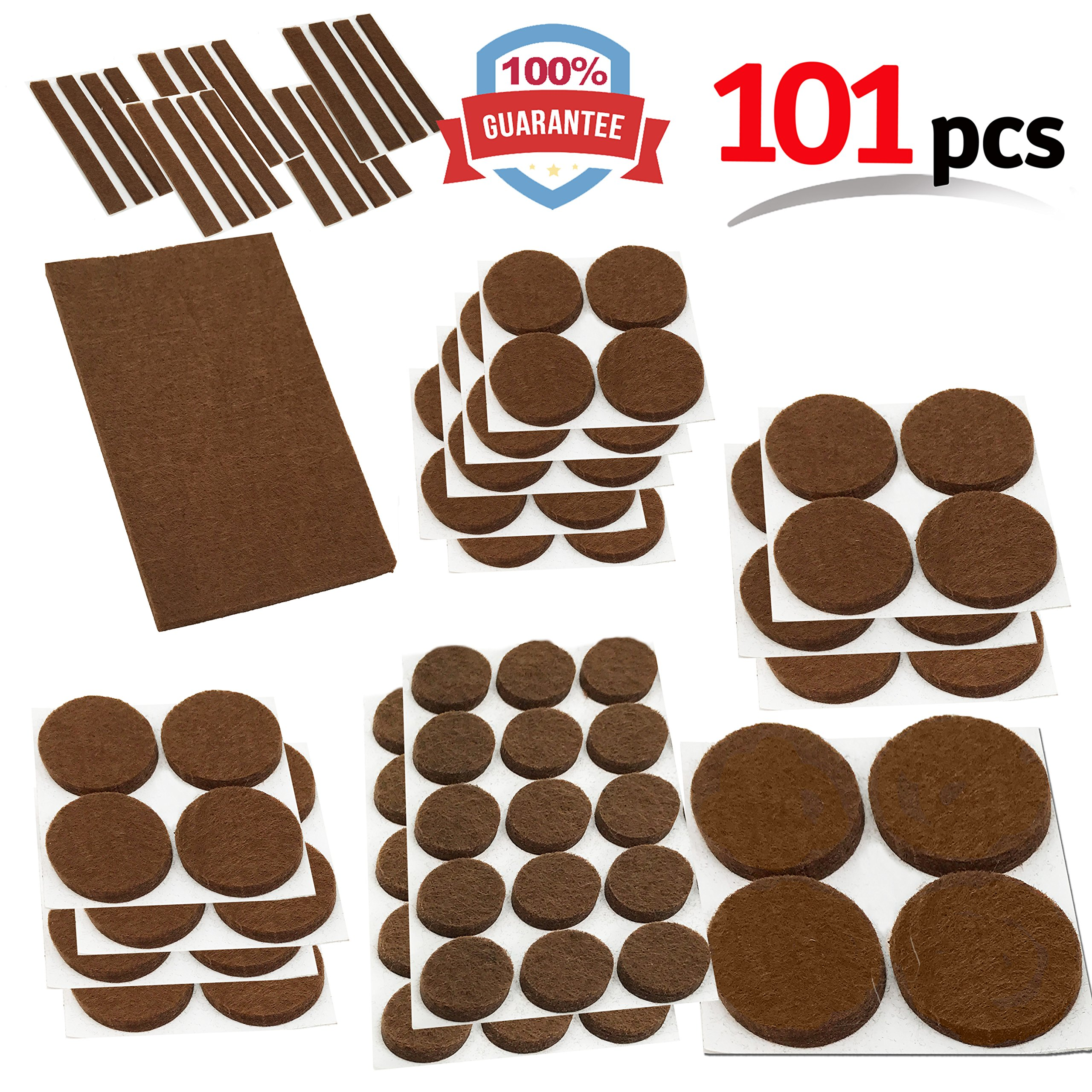 Mighty X Heavy Duty Felt Furniture Pad Protectors by iPrimio - Pack 101 Pcs, Place Under Furniture Legs, Feet, Dining Table, Couches, Vases. Protect Hardwood Floors. Protect All Surfaces. Brown
