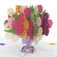 Tulip Bouquet 3D pop up greeting cards from Art paper
