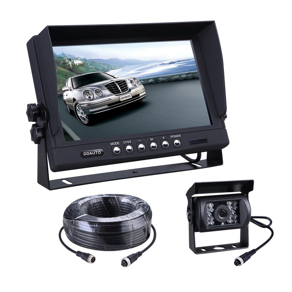 Heavy Duty Vehicle Truck Bus Backup Camera System,Waterproof Night Vision Rear View Camera with 7 inch Monitor+66ft 4 PIN Camera Cable for Bus Truck Van Trailer RV Campers Motor Home 12V 24V