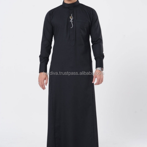 Muslim Arabic Robe Jubah Fashion Trend Design Men Islamic Clothing Abaya Button Long Sleeve Ethnic Thobe XXS-15XL