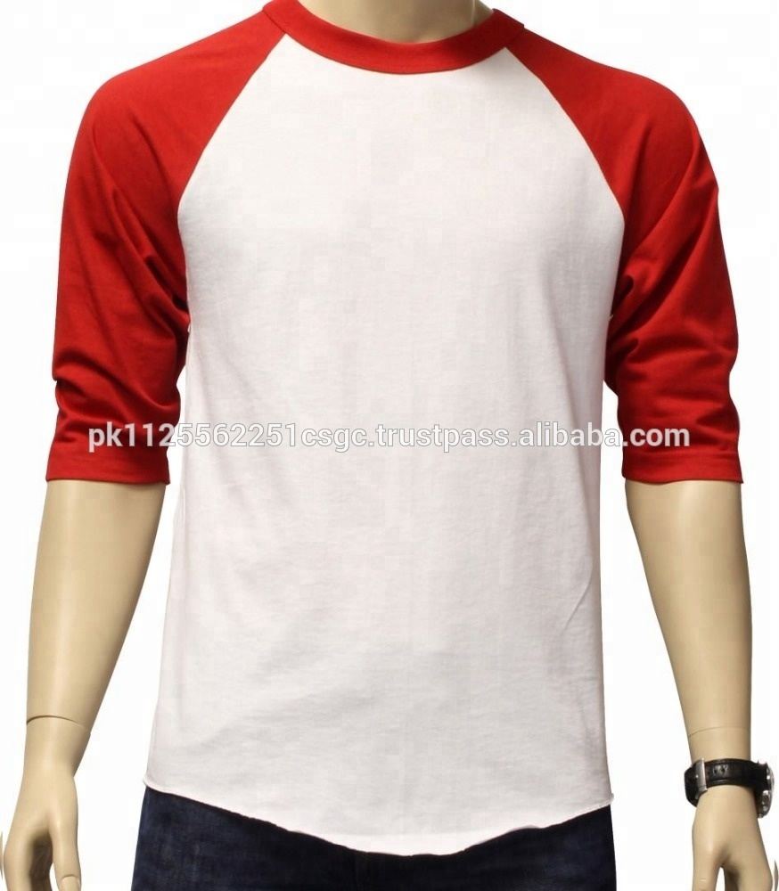 Custom Plain Two Color Regular Fit Raglan 34 Sleeve Baseball T