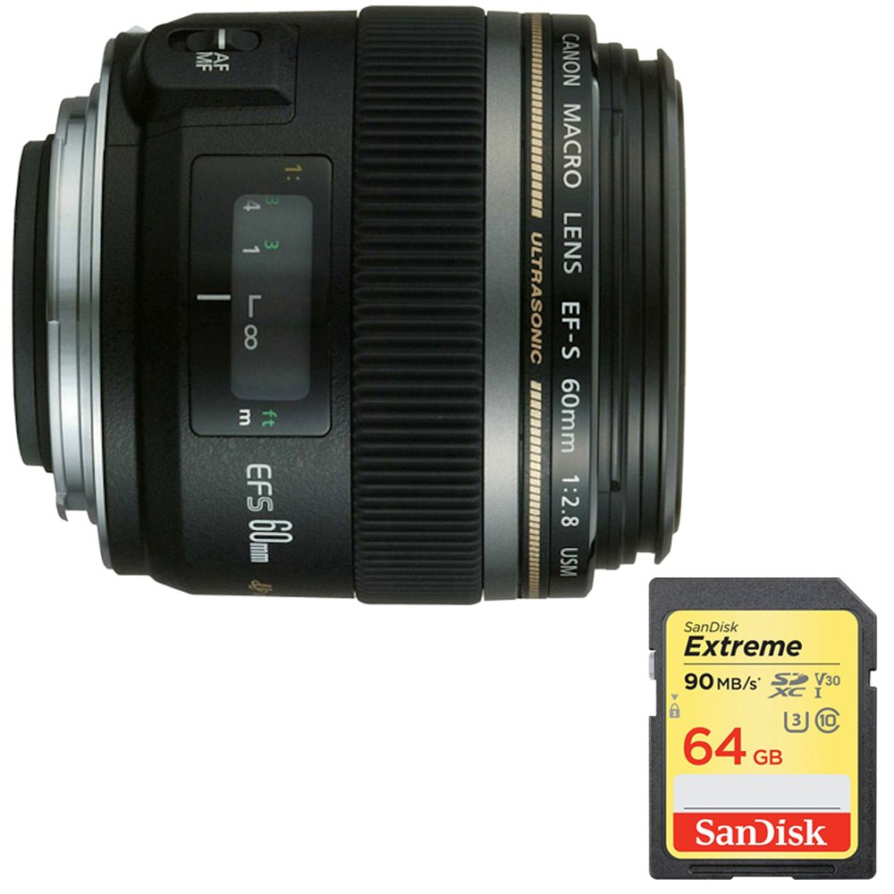 Canon EF-S 60mm f/2.8 Macro USM Lens for Canon SLR Cameras (0284B002) with 64GB Extreme SD Memory UHS-I Card w/ 90/60MB/s Read/Write