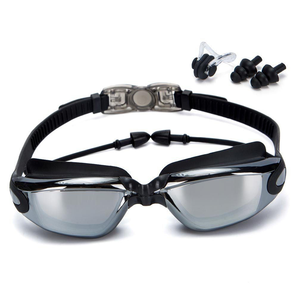 Zhao&ans Swimming Goggles, Swim Goggles Electroplated plain swimming mirror large frame waterproof anti - fog swimming glasses Goggles swim goggles with Anti-Fog 100% UV Protection (black)