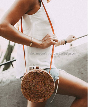 Round rattan bag/ straw circle beach bag/ bohemian rattan handbag for women