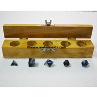 Wholesale Sodalite Sacred Geometry 5pcs Sets with Wooden box
