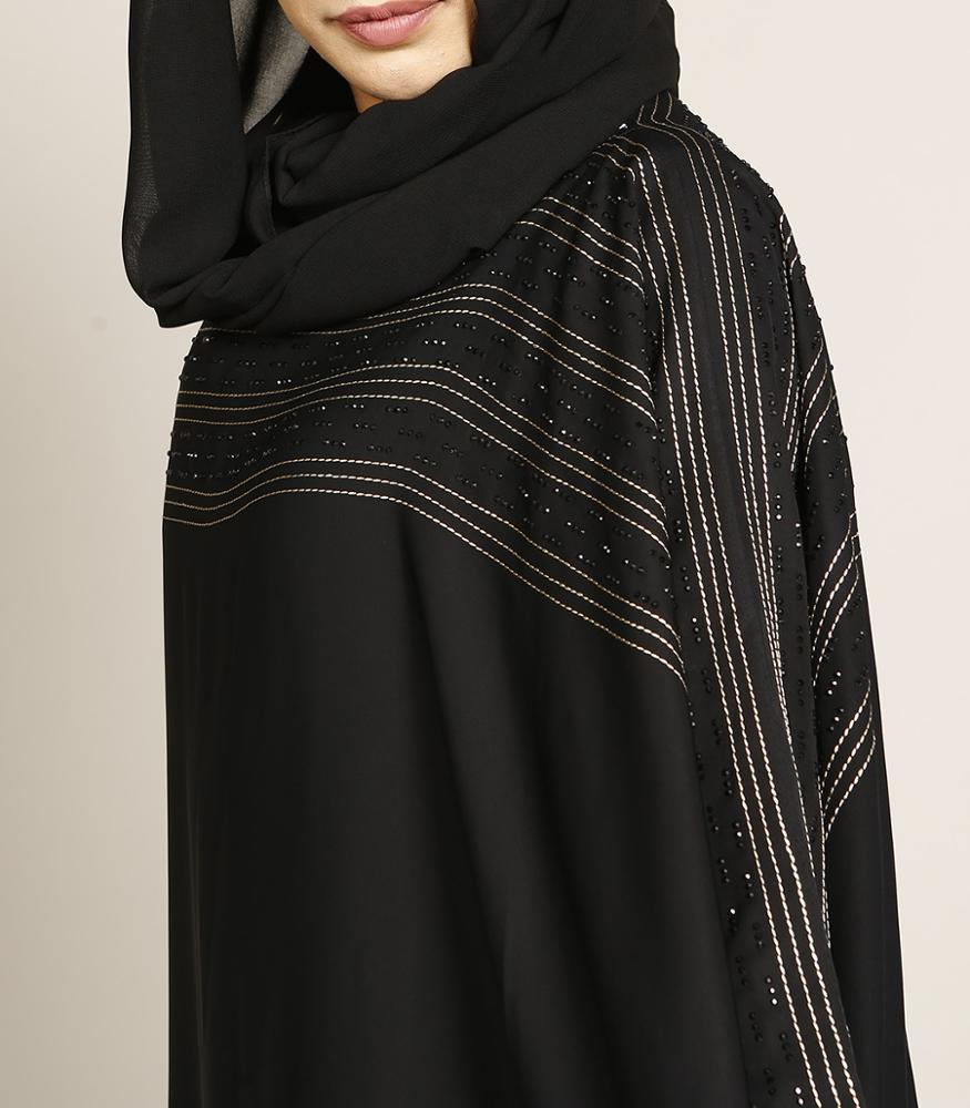 AJM TRADE HOUSE gorgeous butterfly abaya with golden thread work black embellishment very beautiful kaftan shirt burka