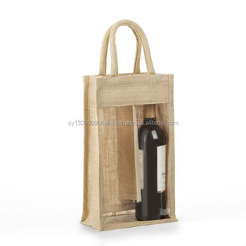 2 And Various Chamber Jute Burlap Wine Bottle Bag With Front Window Two Hessian Gift