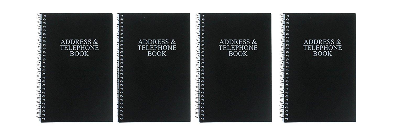 "33 Books Co. Black Telephone Address Book Set of 4 Spiral Bound Vinyl Cover 8"" x 5"""