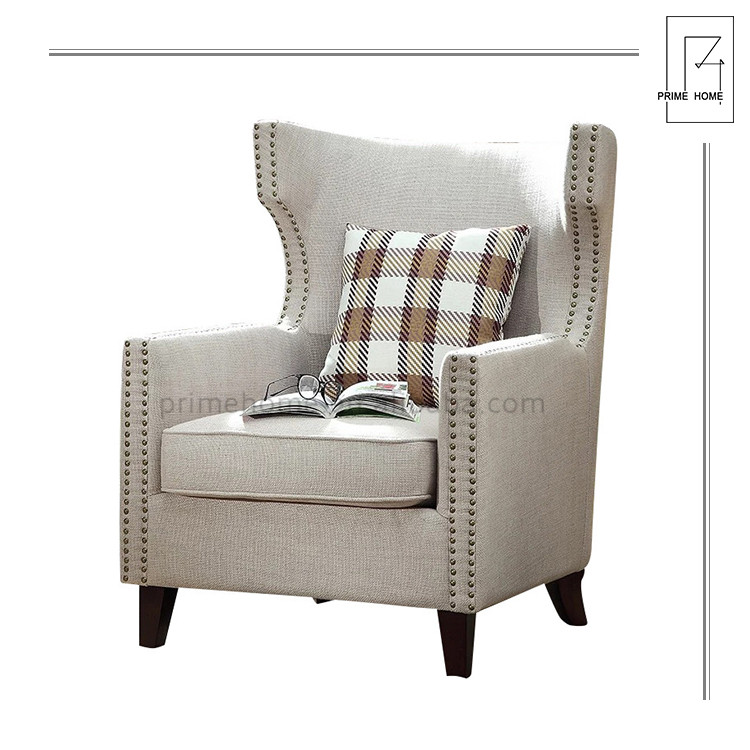 Solid Wood New Design Hot Selling Tufted European Style Stylish Fabric Accent Chair