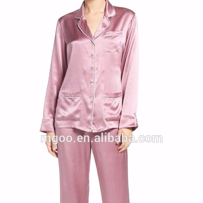 Clothing Manufacturer Customize Women Silk Pajamas Long Sleeve Buttons Sleepwear Rolled Cuffs Contrast Piping Blank Pyjama