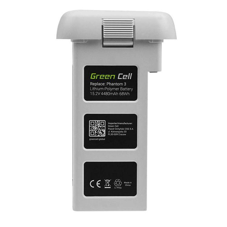 Green Cell Battery for DJI Phantom 3 (Li-Polymer High Performance 4480mAh 68Wh 15.2V White)
