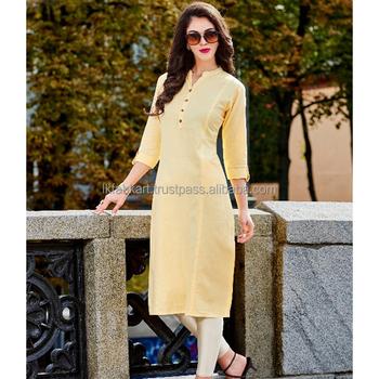 33cddbe39283 Yellow Bulk Stylish Office Wear Linen Cotton Knee Length Kurti - Buy ...