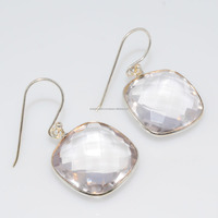 925 sterling Silver Crystal Quartz Gemstone Bezel Fashion earrings
