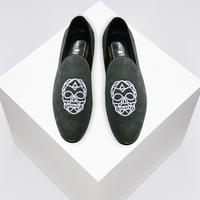 Velvet Skull Embroidered Mens Grey Suede Leather Smoking Slippers Slip-on Loafers Shoes