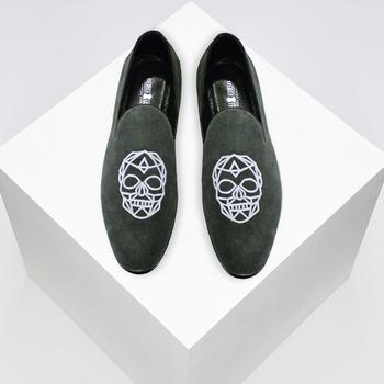 e3d49f57951 Velvet Skull Embroidered Mens Grey Suede Leather Smoking Slippers Slip-on  Loafers Shoes